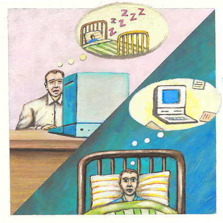 Businessman at desk dreaming of sleep over man in bed dreaming of work