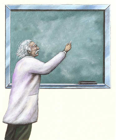 Scientist writing on blackboard