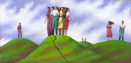 Group of people standing on hill with crack