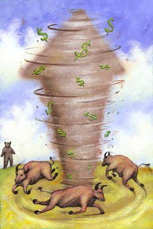 Bulls running in circle creating arrow dollar sign tornado