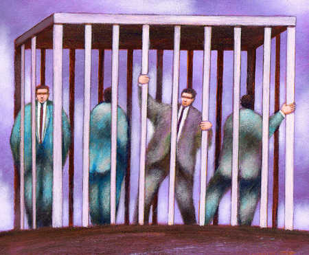 Businessmen in cage