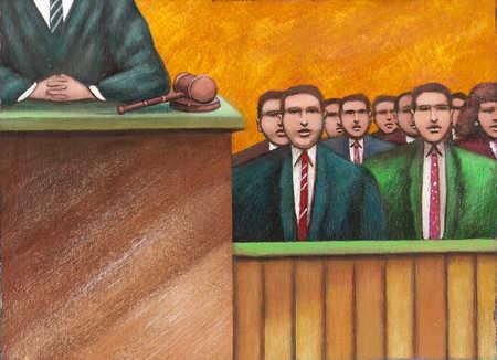 Judge next to jury box
