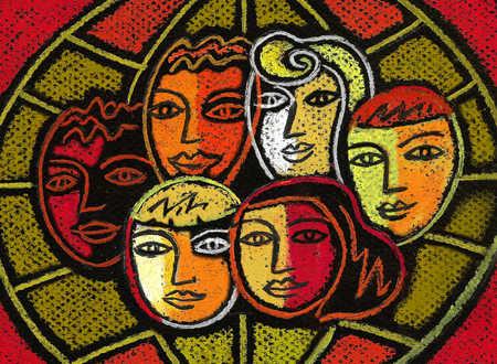 Multi-ethnic faces on globe
