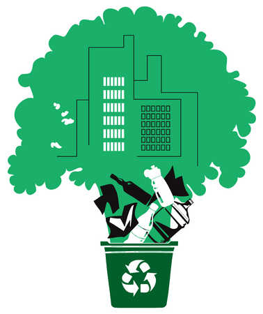 Tree and building growing out of recycling bin