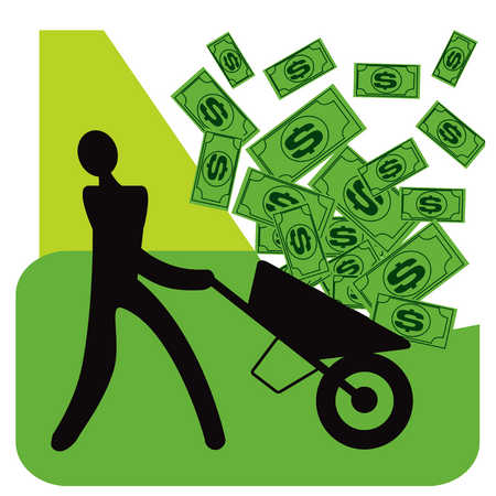 Person pushing wheelbarrow full of money