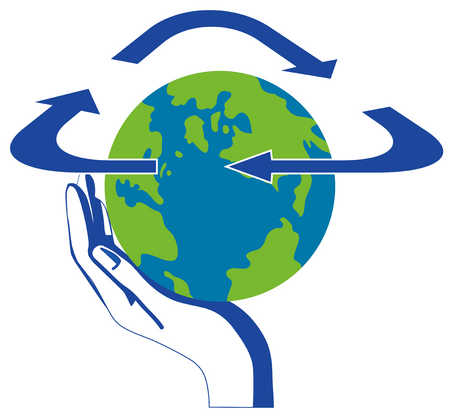 Hand holding globe with recycling symbol