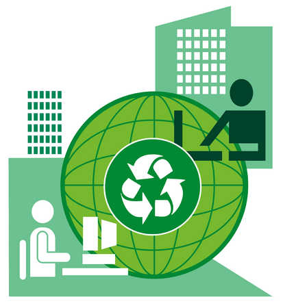 Businesspeople around globe with recycling symbol in middle