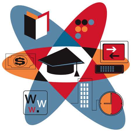 Graduation cap, internet symbol, books and computer in atomic model image