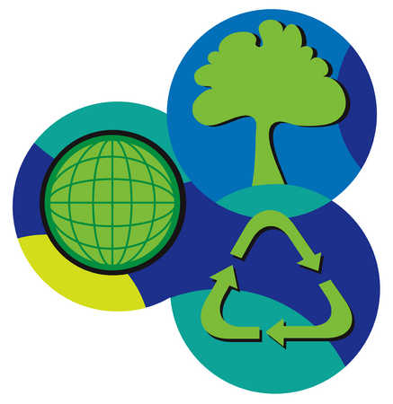Tree, globe and recycling symbol