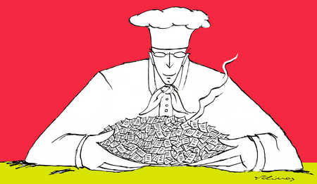 Chef holding pile of steaming papers