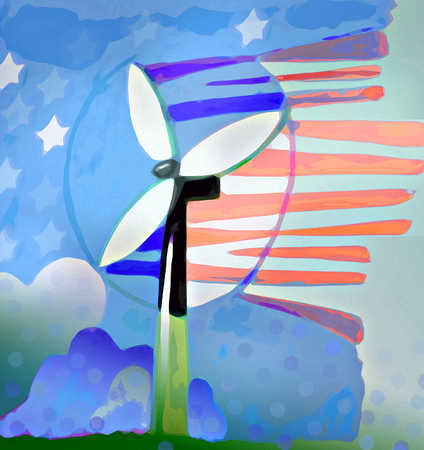 Power generating windmill under blue sky