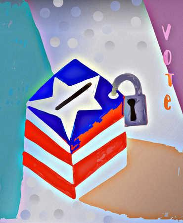 Voting ballot box with padlock