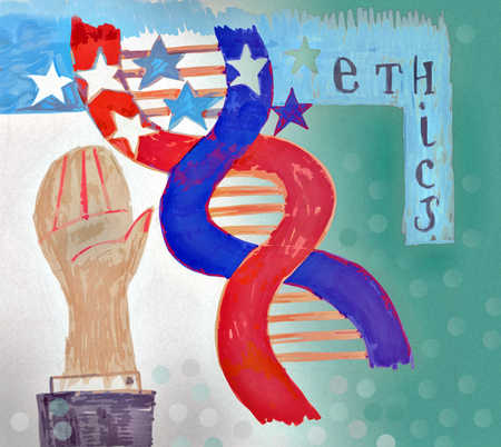 Hand next to abstract American flag DNA pattern