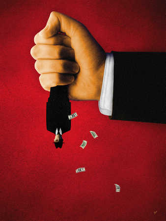Businessman having money shaken out of pockets