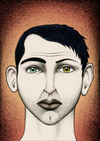 Illustration of face with two different color eyes