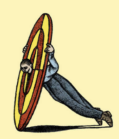 Man with head stuck in middle of bulls eye