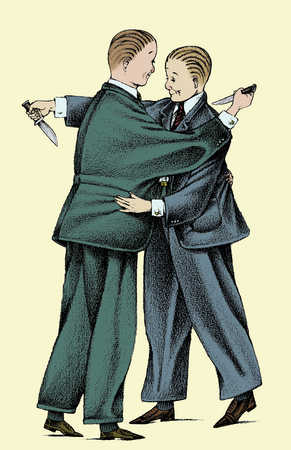 Businessmen hugging and stabbing each other in back