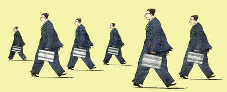 Businessmen with torsos and legs facing different directions