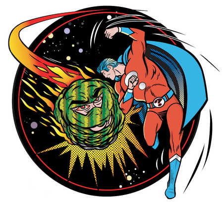 Male superhero fighting comet