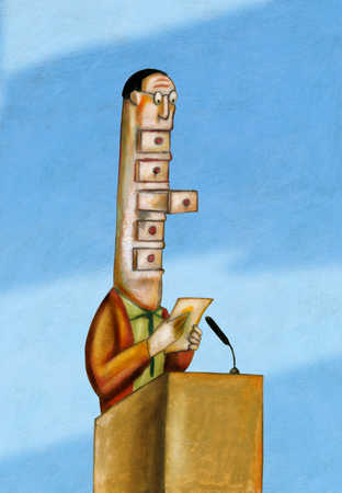 Businessman with drawers in face giving speech