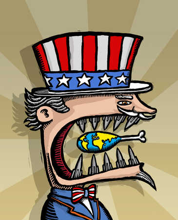 Uncle Sam with missiles as teeth chewing on globe drumstick