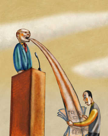 Businessman on podium with flow from mouth to newspaper