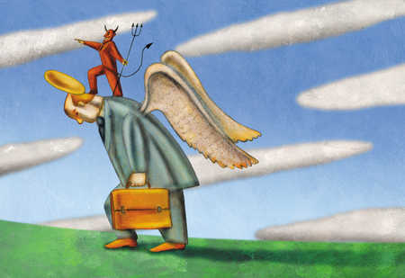 Devil standing on businessman with angel wings