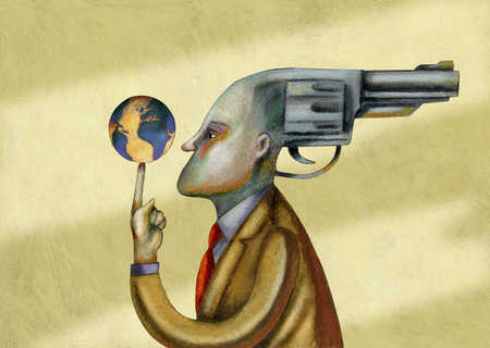 Businessman with gun as head holding globe on finger