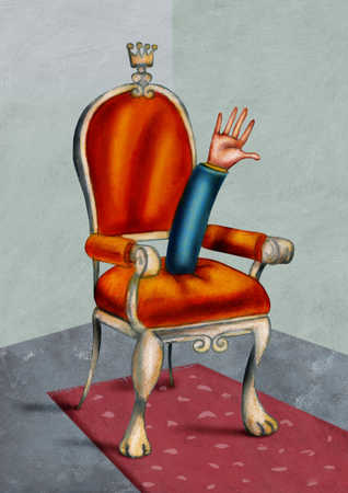Businessman's hand sticking up from royal throne