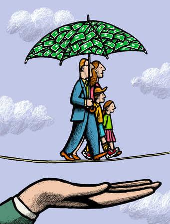 Family walking tightrope under money umbrella