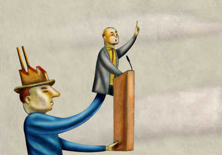 Businessman with factory hat holding puppet at podium