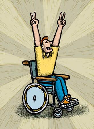 Man in wheelchair cheering
