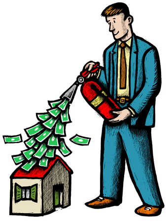 Businessman holding fire extinguisher with money pouring out