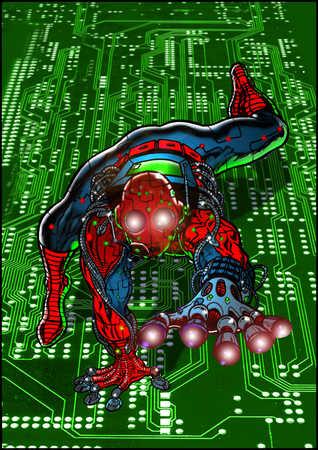 Superhero on circuit board