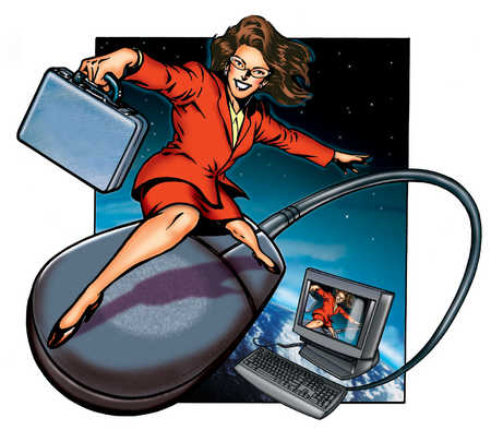 Businesswoman riding on computer mouse in space