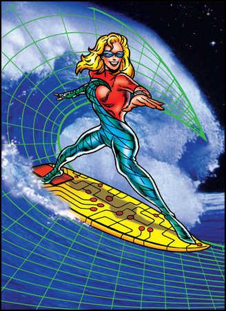 Female superhero surfing on circuit board