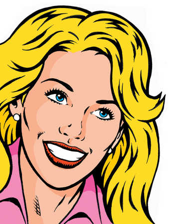 Cartoon strip blonde woman smiling