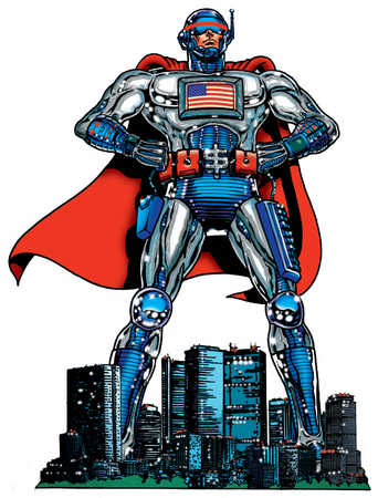 American male superhero standing over city