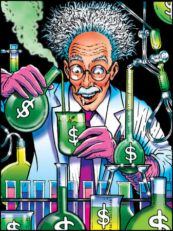 Mad scientist mixing beakers with dollar signs