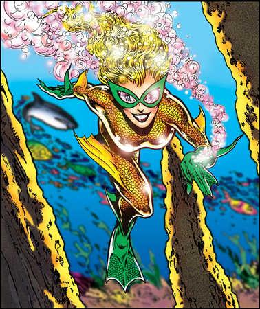 Female aquatic superhero swimming