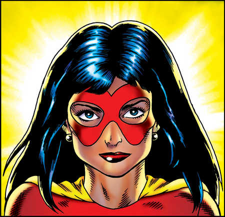 Female superhero wearing mask
