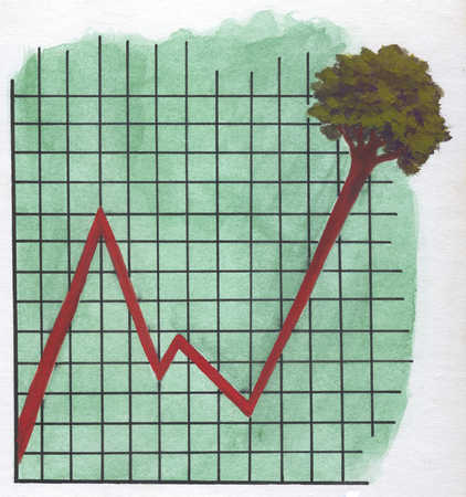 Increasing graph with tree on top