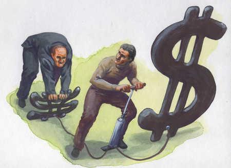 Men inflating dollar signs