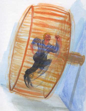 Man running in hamster wheel