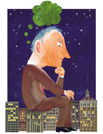 Businessman sitting on city and thinking green