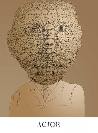 Man's head made up of multiple heads
