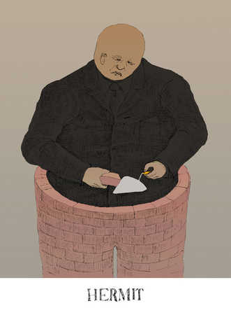 Man Building Brick Wall Around Himself