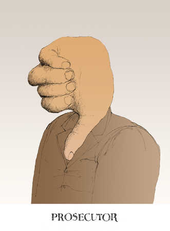 Person with thumbs down as head