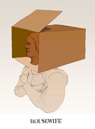 Woman with head in box