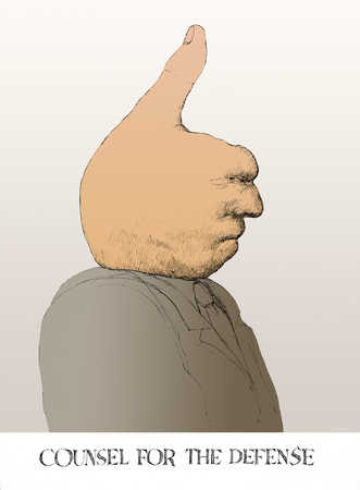 Man with thumbs up as head